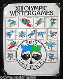 LAKE PLACID XIII 13th WINTER OLYMPIC GAMES RACCOON GRAPHIC ART PROMO POSTER 1977 - K-townConsignments