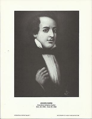 Joseph Smith American Religious Leader Vintage Portrait Gallery Poster Print - K-townConsignments