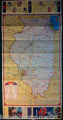 ILLINOIS IOWA GULF OIL VINTAGE GRAPHIC ADVERTISING FOLDOUT MAP K - Vintage iowa map