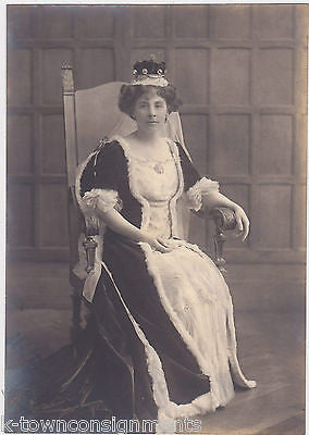 LADY LOUTH EUGENIE IN KING GEORGE V CORONATION GOWN ANTIQUE PHOTOGRAPH 1910 - K-townConsignments