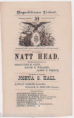 WALTER C. HARRIMAN NATT HEAD NEW HAMPSHIRE REPUBLICAN PARTY TICKET ENGRAVING - K-townConsignments