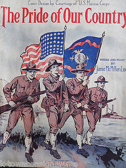 PRIDE OF OUR COUNTRY WWI BOYS IN UNIFORM ANTIQUE GRAPHIC ART SHEET MUSIC 1917 - K-townConsignments