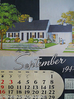 WWII ERA REAL ESTATE ARCHITECTURE VINTAGE GRAPHIC ADVERTISING CALENDAR POSTER - K-townConsignments