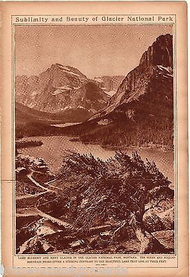 GLACIER NATIONAL PARK MONTANA LANDSCAPE ANTIQUE 1920s NEWS PHOTO POSTER PRINT - K-townConsignments