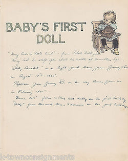Baby's First Doll Antique Graphic Illlustration Nursery Print - K-townConsignments