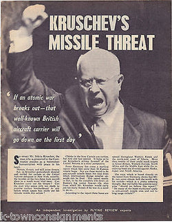 KRUSCHEVS MISSILE THREAT ATOMIC COLD WAR VINTAGE NEWS ARTICLE PRINT - K-townConsignments