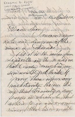 ERASMUS KEYES CIVIL WAR GENERAL & GOLD MINE BANKER AUTOGRAPH SIGNED LETTERS 1880 - K-townConsignments