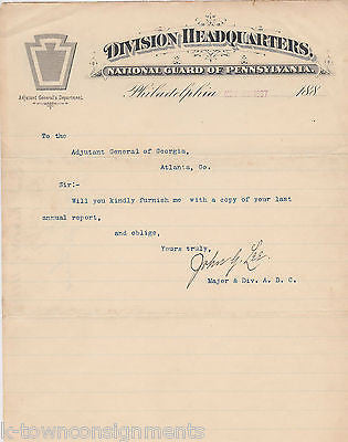 JOHN LEE PENNSYLVANIA NATIONAL GUARD ADJUTANT GENERAL AUTOGRAPH SIGNED DOC 1897 - K-townConsignments