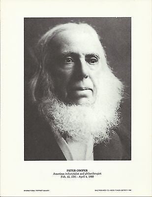Peter Cooper American Industrialist Vintage Portrait Gallery Poster Print - K-townConsignments