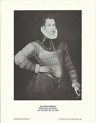 Sir Philip Sidney English Poet and Soldier Vintage Portrait Gallery Poster Print - K-townConsignments