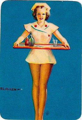 Elvgren Nurse Bowling Traveling Pin Up Girls Vintage Graphic Art Tra K Townconsignments