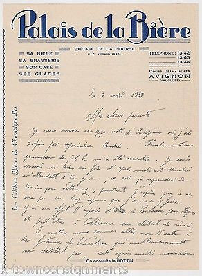 PALAIS DE LA BIERE AVIGNON FRENCH BEER PALACE ANTIQUE ADVERTISING STATIONERY - K-townConsignments