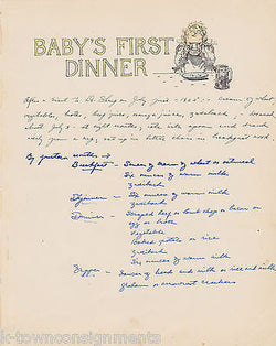 Baby's First Dinner Cherub Eating Antique Graphic Illlustration Nursery Print - K-townConsignments