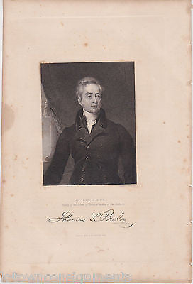 SIR THOMAS LE BRETON BAILIFF OF JERSEY ANTIQUE SIGNATURE ENGRAVING PRINT 1835 - K-townConsignments