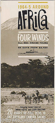AFRICA FOUR WINDS CRUISE SHIPS VINTAGE 1960s GRAPHIC AD TRAVEL BROCHURE - K-townConsignments