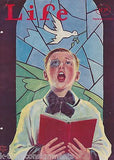 BLACK EYE CHURCH CHOIR BOY COVER ART ANTIQUE GRAPHIC ILLUSTRATED LIFE MAGAZINE - K-townConsignments