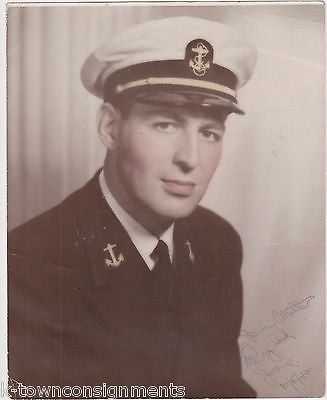 WWII NAVY SOLDIER IN FULL UNIFORM VINTAGE AUTOGRAPH SIGNED COLORED PHOTO - K-townConsignments