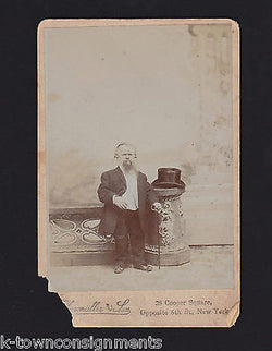 TOP HAT WELL DRESSED DWARF W/ BEARD ANTIQUE PORTRAIT PHOTO NEW YORK - K-townConsignments