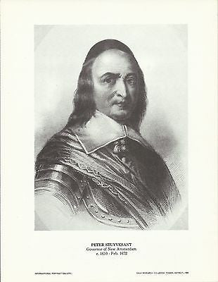 Peter Stuyvesant New Amsterdam Governor Vintage Portrait Gallery Poster Print - K-townConsignments
