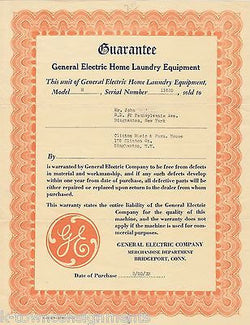 GENERAL ELECTRIC LAUNDRY WASHER DRYER ANTIQUE SALES WARRANTY CERTIFICATE 1933 - K-townConsignments