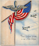 WWII US AIR CORPS AMERICAN FLAG FIGHTER PLANS VINTAGE GRAPHIC ART GREETINGS CARD - K-townConsignments