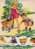 LITTLE GIRL & BOY PLAY WITH TOYS VINTAGE 1940s LARGE GRAPHIC ILLUSTRATION PRINT - K-townConsignments