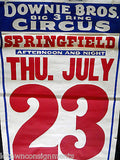 DOWNIE BROS. BIG 3 RING CIRCUS SPRINGFIELD 1930s ANTIQUE AD CARNIVAL POSTER - K-townConsignments