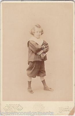CUTE LITTLE BOY W/ LOLLIPOP GUILD POSE COSTUME ANTIQUE CABINET CARD PHOTOGRAPH - K-townConsignments