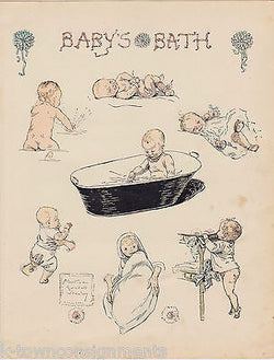 Baby's Bath by Albertine Randall Wheelan Antique Graphic Art Baby Nursery Print - K-townConsignments