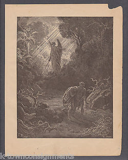 Adam & Eve Expelled From Garden Gustave Dore 1890 Antique Bible Engraving Print - K-townConsignments