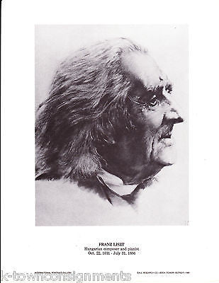 Franz Liszt Hungarian Composer & Pianist Vintage Portrait Gallery Poster Print - K-townConsignments