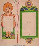 CUTE LITTLE GIRL ART DECO KIDS CRAFTS NOTEPAD MAKER ANTIQUE GRAPHIC ART PRINT - K-townConsignments