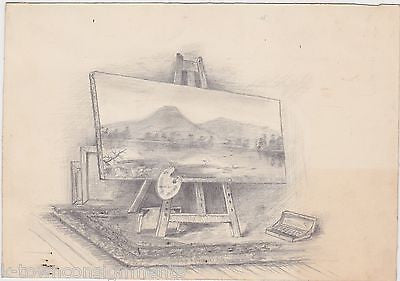 ARTISTS PAINTING EASEL SCENE UNUSUAL ORIGINAL PENCIL SKETCH DRAWING UNSIGNED - K-townConsignments
