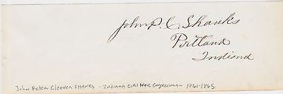 JOHN SHANKS CIVIL WAR COLONEL & INDIANA CONGRESSMAN ORIGINAL AUTOGRAPH SIGNATURE - K-townConsignments