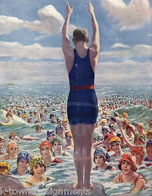 DAREDEVIL SWIM DIVER COVER ART ANTIQUE GRAPHIC ILLUSTRATED LIFE MAGAZINE 1919 - K-townConsignments