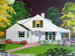 SINGLE FAMILY HOME VINTAGE WWII ERA REAL ESTATE ARCHITECTURE GRAPHIC ADVERTISING - K-townConsignments