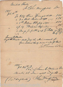 WAR OF 1812 UNITED STATES JOHN WINGFIELD AUTOGRAPH SIGNED FIELD DOCUMENT 1815 - K-townConsignments