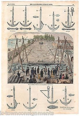 TRIAL OF ANCHOR PATENTS ANTIQUE NAUTICAL SEAMANS GRAPHIC ENGRAVING POSTER PRINT - K-townConsignments
