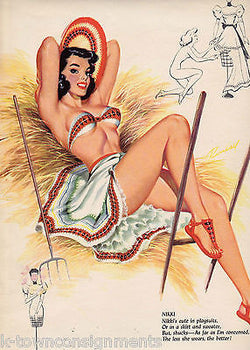 A ROLL IN THE HAY WITH NIKKI PIN-UP GIRL VINTAGE EROTIC GRAPHIC ART POSTER PRINT - K-townConsignments