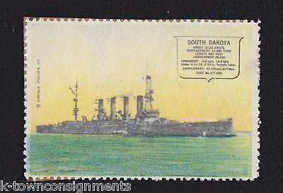 USS SOUTH DAKOTA NAVAL BATTLESHIP VINTAGE ENRIQUE MULLER GRAPHIC POSTAGE STAMP - K-townConsignments