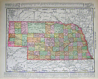 Nebraska State Antique 1898 Graphic Illustration Map Atlas Print - K-townConsignments