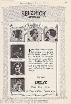 SELZNICK PICTURES VINTAGE 1920s GRAPHIC ADVERTISING PRINT - K-townConsignments