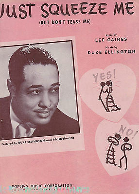 DUKE ELLINGTON JUST SQUEEZE ME ROBBINS MUSIC VINTAGE GRAPHIC ART SHEET MUSIC - K-townConsignments