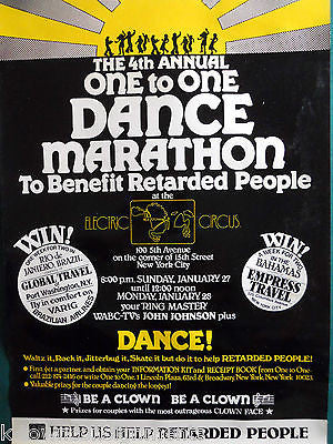 ELECTRIC CIRCUS CLUB NY VINTAGE 1970s DANCE MARATHON FOR RETARDED PEOPLE POSTER - K-townConsignments