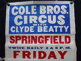 CLYDE BEATTY COLE BROS CIRCUS SPRINGFIELD 1930s ANTIQUE AD CARNIVAL POSTER - K-townConsignments