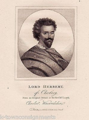 LORD HERBERT OF CHERBURY ENGLAND ANTIQUE PORTRAIT ENGRAVING PRINT 1806 - K-townConsignments