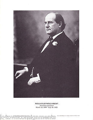 William Jennings Bryan US Politician Vintage Portrait Gallery Poster Photo Print - K-townConsignments