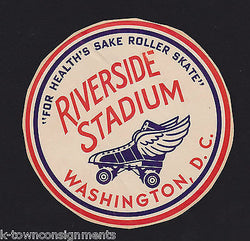 RIVERSIDE STADIUM ROLLER SKATING RINK WASHINGTON DC VINTAGE ADVERTISING DECAL - K-townConsignments