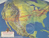 AMERICAN AIRLINES VINTAGE UNITED STATES TO EUROPE FLIGHT MAP GRAPHIC ADVERTISING - K-townConsignments