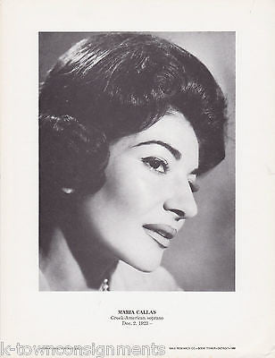 Maria Callas Greek American Soprano Vintage Portrait Gallery Photo Poster Print - K-townConsignments